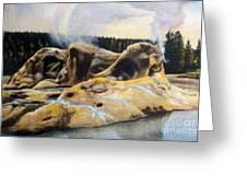 Grotto Geyser Yellowstone Np 1928 Greeting Card