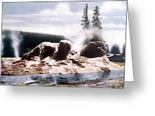 Grotto Geyser Yellowstone Np Greeting Card