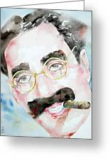 Groucho Marx Watercolor Portrait.2 Greeting Card by Fabrizio Cassetta