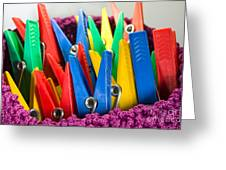 Group Of Colorful Clothespins Greeting Card