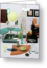 Group Of Furniture And Decorations In 1960 Colors Greeting Card