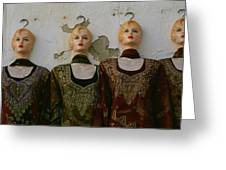 Group Of Mannequins In A Market Stall Greeting Card