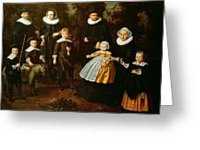 Group Portrait Of Three Generations Of A Family In The Grounds Of A Country House Oil On Canvas Greeting Card