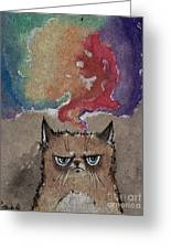Grumpy Cat And Her Colorful Dreams Greeting Card