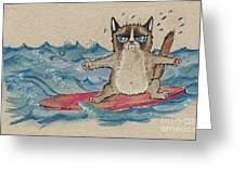 Grumpy Cat Surfing Greeting Card