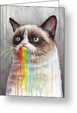 Grumpy Cat Tastes The Rainbow Greeting Card