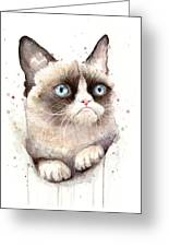 Grumpy Cat Watercolor Greeting Card