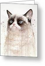 Grumpy Watercolor Cat Greeting Card