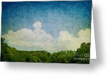 Grunge Background With Landscape Greeting Card by Mythja  Photography