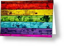Grunge Colorful Wood Planks Background Greeting Card