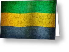 Grunge Gabon Flag Greeting Card