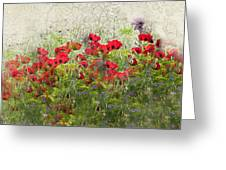 Grunge Poppy Field Greeting Card by Lesley Rigg