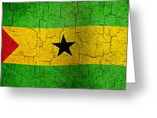 Grunge Sao Tome And Principe Flag Greeting Card