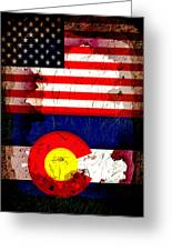 Grunge Style Usa And Colorado Flags Greeting Card