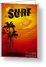 Grunge Surf Poster With Palms And Sunset Greeting Card