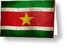 Grunge Suriname Flag Greeting Card