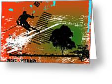 Grunge Winter Background With Skier Greeting Card