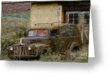 Grungy Vintage Ford Panel Truck Greeting Card