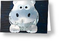 Grunt The Hippo License Plate Art Greeting Card