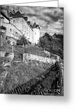 Gruyeres Castle Bw Greeting Card