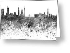 Guangzhou Skyline In Black Watercolor On White Background Greeting Card