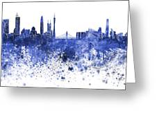 Guangzhou Skyline In Blue Watercolor On White Background Greeting Card