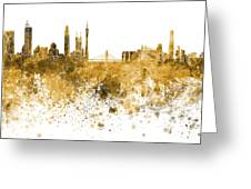 Guangzhou Skyline In Orange Watercolor On White Background Greeting Card