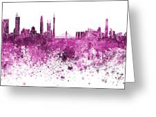 Guangzhou Skyline In Pink Watercolor On White Background Greeting Card