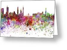 Guangzhou Skyline In Watercolor On White Background Greeting Card