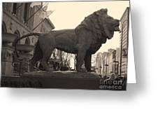 Guarded Lion Statue In Chicago Greeting Card