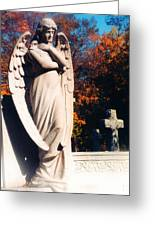 Guardian Angel Statue With Cemetery Cross Greeting Card