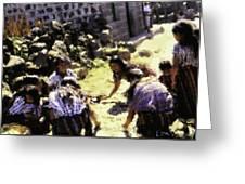 Guatemalan Girls Playing Greeting Card