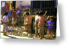 Guatemalan Line Of Boys Greeting Card
