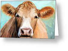 Guernsey Cream Cow On Light Green Greeting Card