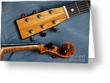 Guitar And Violin Heads On Blue Greeting Card