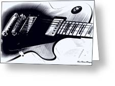 Guitar - Black And White Greeting Card