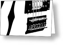 Guitar Graphic In Black And White  Greeting Card