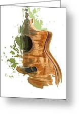 Guitar Green Background 4 Greeting Card