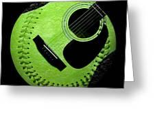 Guitar Keylime Baseball Square  Greeting Card