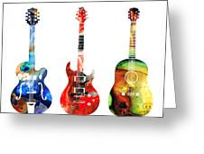 Guitar Threesome - Colorful Guitars By Sharon Cummings Greeting Card