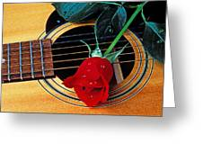 Guitar With Single Red Rose Greeting Card