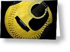 Guitar Yellow Baseball Square Greeting Card