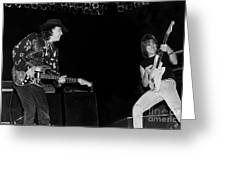 Guitarists Stevie Ray Vaughan W Jeff Beck Greeting Card