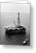 Gulf Of Mexico Oil Rig, 1950 Greeting Card