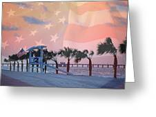 Gulf Shores Beach With Flag Greeting Card