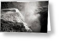 Gullfoss Iceland In Black And White Greeting Card