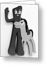 Gumby And Pokey B F F In B  W  Greeting Card
