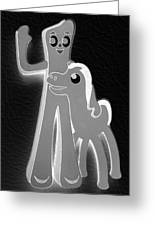 Gumby And Pokey B F F In Negative Black And White Greeting Card