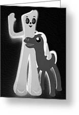 Gumby And Pokey B F F In Negative B W  Greeting Card