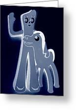 Gumby And Pokey  B F F In Negative Cyan Greeting Card
